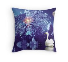 Fantasy In Frozen Blue Throw Pillow