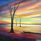 Outback Lake Sunset  by Estelle O'Brien