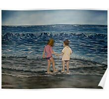"""""""Beach Kids"""" - Oil Painting Poster"""
