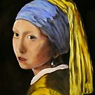 """""""Pearl Earring with Girl Attached"""" - oil painting (inspired by Vermeer) by Avril Brand"""