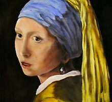 """Pearl Earring with Girl Attached"" - oil painting (inspired by Vermeer) by Avril Brand"