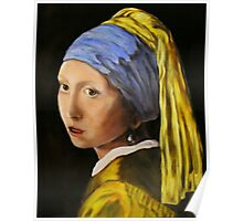 """""""Pearl Earring with Girl Attached"""" - oil painting (inspired by Vermeer) Poster"""