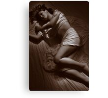 Brunette with Tattoo on Sheets Canvas Print