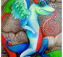 dragon lizard tattoo style art by melaniedann
