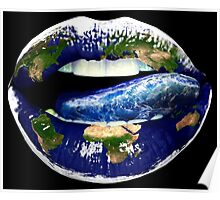 "Title: ""I need more Sex"" Angelina Jolie, Earth Lips,Ocean Tongue Poster"