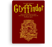 Gryffindor Harry Potter House Poster Canvas Print