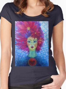 red hair white witch art Women's Fitted Scoop T-Shirt