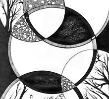 Trees, Abstract Doodle, Pen and Ink, Black and White by Danielle J. Scott (Smith)