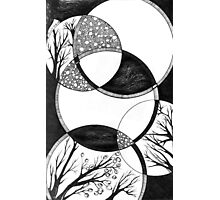 Trees, Abstract Doodle, Pen and Ink, Black and White Photographic Print