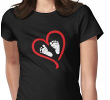 Baby Feet In Heart Maternity Design Womens Fitted T-Shirt