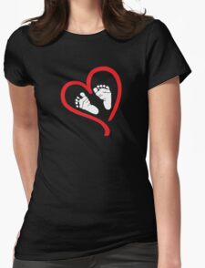 Baby Feet In Heart Maternity Design T-Shirt