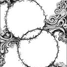 Abstract Circles, Black and White Doodle, Pen and Ink by Danielle Scott