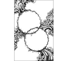 Abstract Circles, Black and White Doodle, Pen and Ink Photographic Print