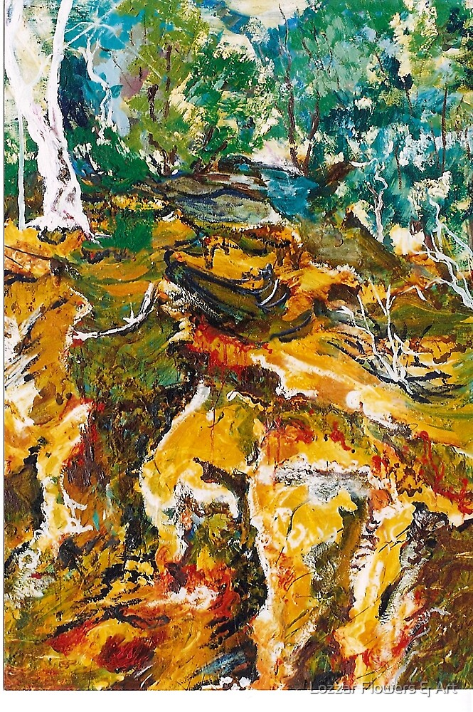 'Ochre Gully'  Oil Painting by Lozzar Flowers & Art