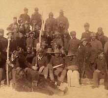 Buffalo soldiers of the 25th Infantry, some wearing buffalo robes, Ft. Keogh, Montana 1889 by Adam Asar