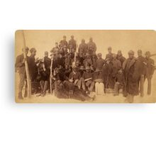 Buffalo soldiers of the 25th Infantry, some wearing buffalo robes, Ft. Keogh, Montana 1889 Canvas Print
