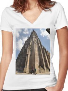 Cathedral, Bayeux, France, Europe 2012 Women's Fitted V-Neck T-Shirt