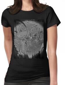Antique John Deere Tractor Seat Farm Scene Black and White High Contrast Womens Fitted T-Shirt