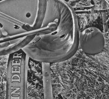 Antique John Deere Tractor Seat Farm Scene Black and White High Contrast Sticker