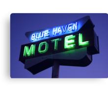 Blue Haven Motel Sign Canvas Print