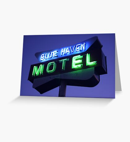 Blue Haven Motel Sign Greeting Card