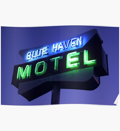 Blue Haven Motel Sign Poster