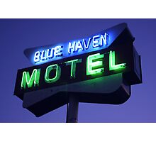 Blue Haven Motel Sign Photographic Print