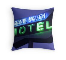 Blue Haven Motel Sign Throw Pillow