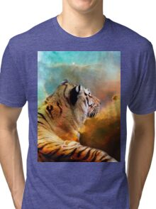 Tiger and Space Tri-blend T-Shirt