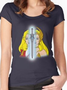 She-Ra Princess of Power - Adora/She-Ra/Sword - Color Women's Fitted Scoop T-Shirt