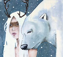 The Reindeer Girl and the Polar Bear by Endofmarch