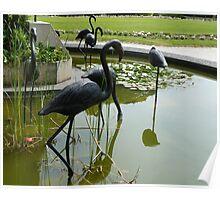 Bronze flamingos Poster