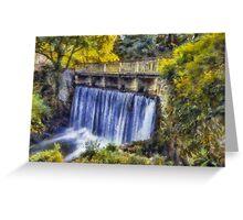Autumn Waterfall Bridge Greeting Card