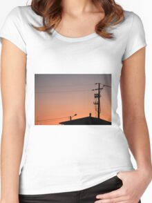 roofs at sunset Women's Fitted Scoop T-Shirt