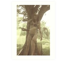 Double Exposure On Horribly Outdated C41 Film Taken With A Malfunctioning Mamiya C220 Of A Woman In Her Underpants Holding A Snake Art Print