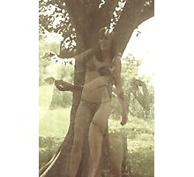 Double Exposure On Horribly Outdated C41 Film Taken With A Malfunctioning Mamiya C220 Of A Woman In Her Underpants Holding A Snake Photographic Print