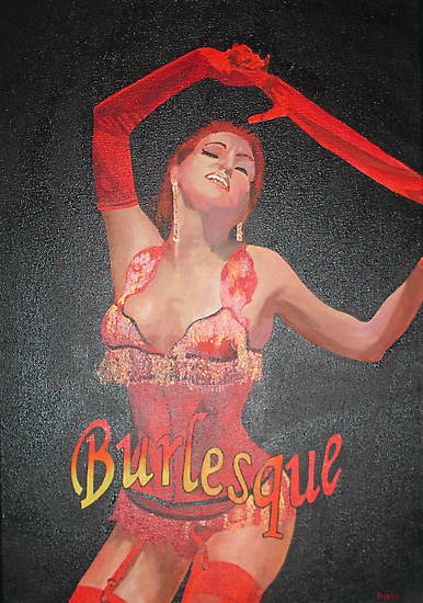 Burlesque Dancer Wearing Vintage Red Corset and Gloves by taiche