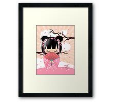 Dream Kokeshi Doll In Pink Cream And Peach Blends Framed Print