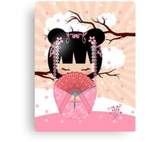 Dream Kokeshi Doll In Pink Cream And Peach Blends Canvas Print