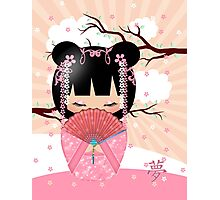 Dream Kokeshi Doll In Pink Cream And Peach Blends Photographic Print