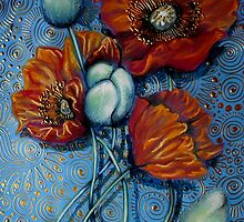 Orange Poppies on Blue by Cherie Roe Dirksen