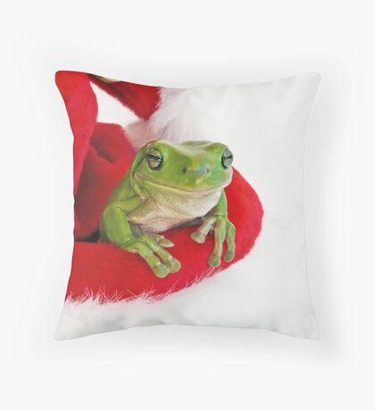 Santa's Little  Green Helper Throw Pillow