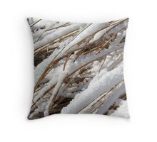 Cattails in Snow Throw Pillow