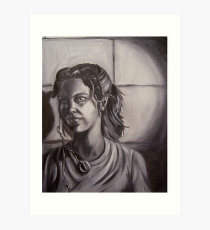 Greyscale Self Portrait Art Print