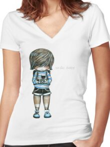 Smile Baby Tee Women's Fitted V-Neck T-Shirt