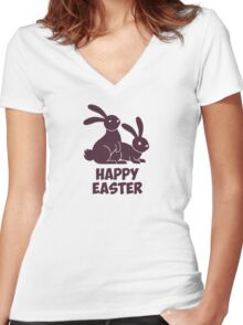 Happy Easter Bunnies Women's Fitted V-Neck T-Shirt