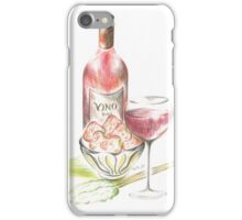Vino with strawberries iPhone Case/Skin