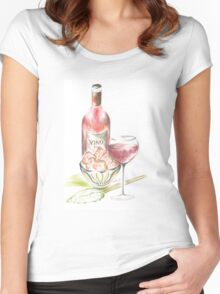 Vino with strawberries Women's Fitted Scoop T-Shirt