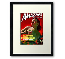 Amazing Stories - Classic Sci Fi Magazine Cover - Reproduction Framed Print