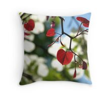 Forest Pansy Redbud Leaves, Backlit Throw Pillow